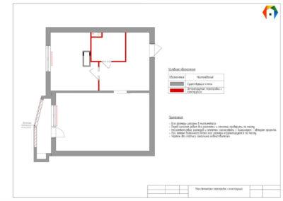Люблинская. Фото коллажа план демонтажа перегородок и конструкций. Разработка дизайн проекта