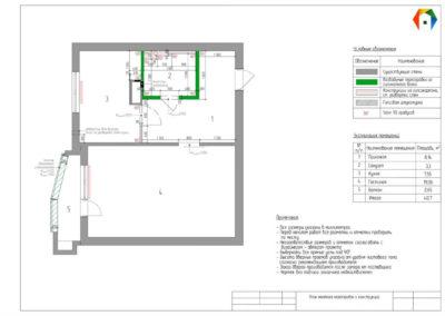 Люблинская. Фото плана монтажа перегородок и конструкций. Разработка дизайн проекта