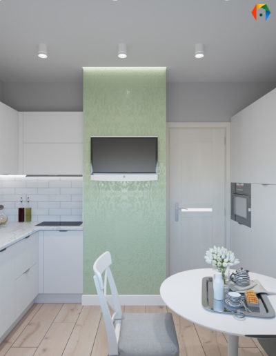 Люблинская. Фото визуализации кухни. Фото визуализации столовой. Разработка дизайн проекта