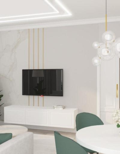 Рублевское шоссе. Фото визуализации гостиной. Разработка дизайн проекта