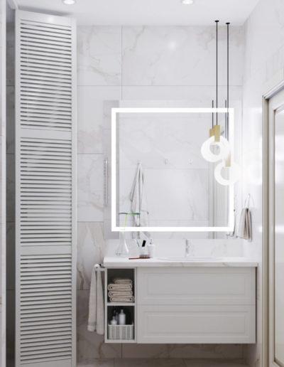 Рублевское шоссе. Фото визуализации душевой. Фото визуализации ванной комнаты. Разработка дизайн проекта
