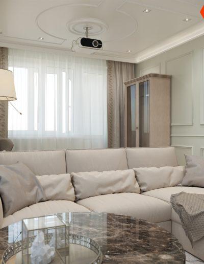 Седова. Фото визуализации гостиной. Разработка дизайн проекта