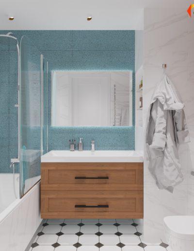 Седова. Фото визуализации санузла. Фото визуализации ванной комнаты. Фото визуализации душевой. Разработка дизайн проекта