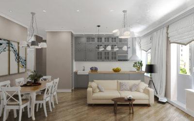 Красноказарменная. Дизайн-проект с визуализацией и коллажами двухкомнатной квартиры