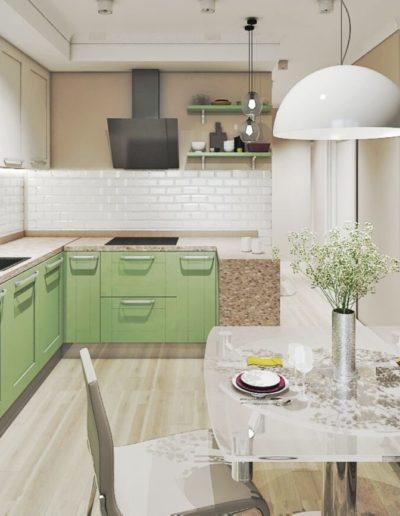 Березовая аллея. Фото визуализации кухни. Визуализация кухни. Кухня. Разработка дизайн проекта