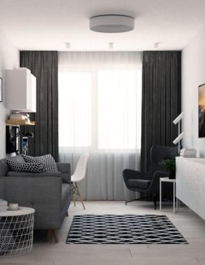 Дмитровское шоссе. Фото визуализации гостиной. Визуализация гостиной. Гостиная. Разработка дизайн проекта