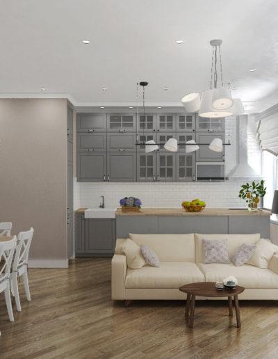 Красноказарменная. Фото визуализации кухни-гостиной. Визуализация кухни-гостиной. Кухня-гостиная. Кухня. Гостиная. Разработка дизайн проекта