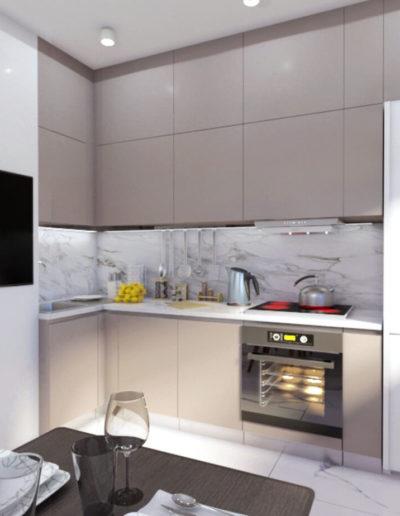 Осенний бульвар. Фото визуализации кухни. Визуализация кухни. Кухня. Разработка дизайн проекта