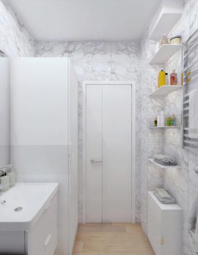 Осенний бульвар. Фото визуализации ванной комнаты и санузла. Визуализация ванной комнаты и санузла. Ванная комната. Ванная. Санузел. Разработка дизайн проекта