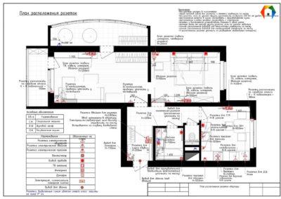 Лихачевский проспект. Фото плана расположения розеток. План расположения розеток. Разработка дизайн проекта. Дизайн-проект квартиры