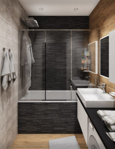 Лихачевский проспект.Фото визуализации ванной комнаты. Визуализация ванной. Ванная комната. Разработка дизайн проекта. Дизайн-проект квартиры