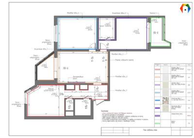 2-грайвороновский проезд. Фото плана отделки стен. План отделки стен. Технический план. Рабочий проект. Разработка дизайн проекта. Дизайн-проект квартиры