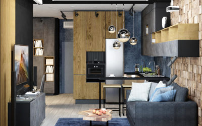 Волоколамское шоссе. Дизайн квартиры с объединенными кухней и гостиной