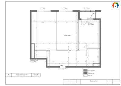 Серебрякова. Фото обмерного плана. Обмерный план Разработка дизайн проекта. дизайн-проект квартиры