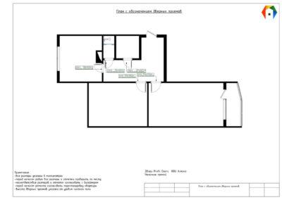Флотская. Фото плана с обозначением дверных проемов. План с обозначением дверных проемов. Разработка дизайн проекта. Дизайн-проект квартиры