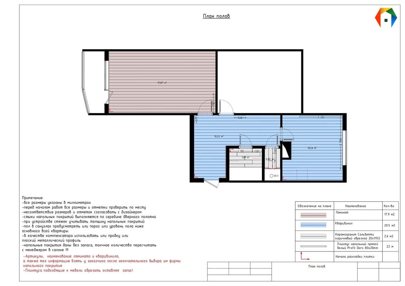 Флотская. Фото плана пола. План пола. Разработка дизайн проекта. Дизайн-проект квартиры