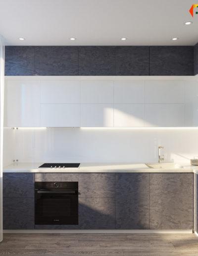 Флотская. Фото визуализации кухни. Визуализация кухни. Кухня. Разработка дизайн проекта. Дизайн-проект квартиры