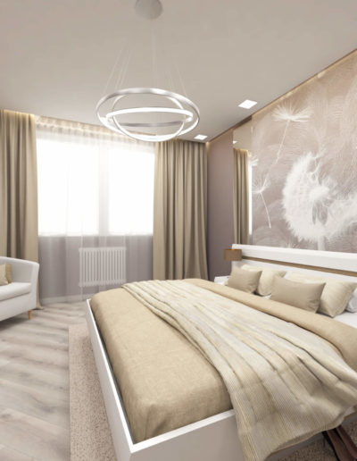 Бульвар Генерала Карбышева. Фото визуализации спальни. Визуализация спальни. Спальня. Разработка дизайн проекта. Дизайн-проект квартиры