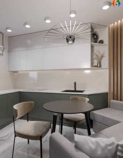 Золотой треугольник. Герасима Курина. Фото визуализации кухни. Фото визуализации столовой. Визуализация кухни. Кухня. Дизайн проект в современном стиле. Разработка дизайн проекта. Дизайн-проект квартиры