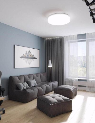 Варшавское шоссе. Фото визуализации гостиной. Визуализация гостиной. Гостиная. Разработка дизайн проекта. Дизайн-проект квартиры