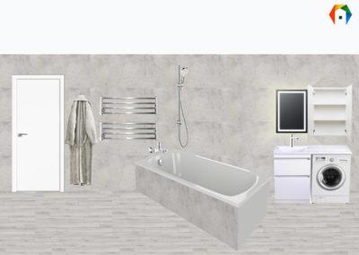 Варшавское шоссе. Фото коллажа ванной комнаты. Разработка дизайн проекта. Дизайн-проект квартиры