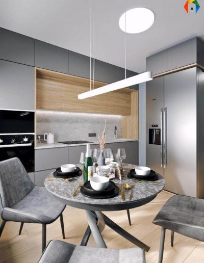 Варшавское шоссе. Фото визуализации кухни. Визуализация кухни. Кухня. Разработка дизайн проекта. Дизайн-прект квартиры