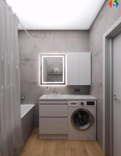 Варшавское шоссе. Фото визуализации ванной комнаты. Визуализация ванной. Ванная комната. Разработка дизайн проекта. Дизайн-проект квартиры
